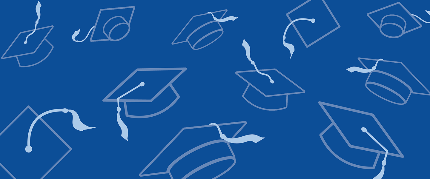 line art of mortar boards against a blue background